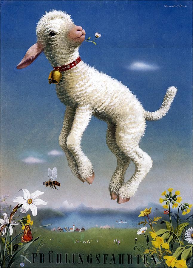 Fruhlingsfahrten - Spring Trips - Lamb - Vintage Advertising Poster Mixed Media