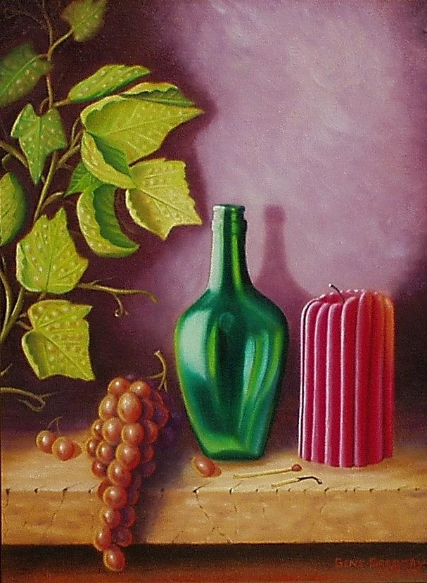 Still Life Painting - Fruit And Candle by Gene Gregory