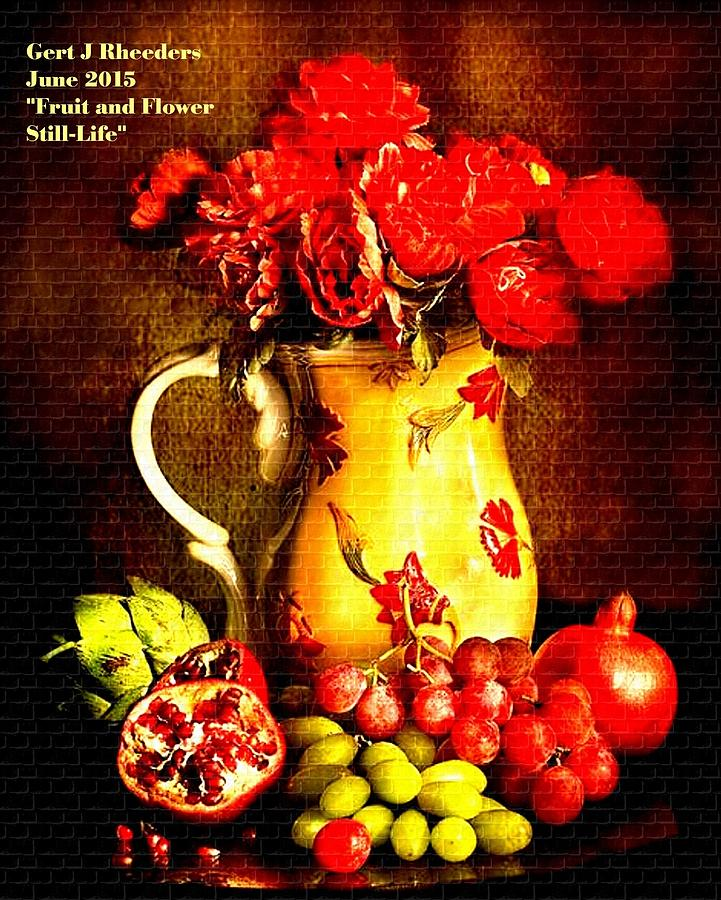 Announcement Painting - Fruit And Flower Still-life H A by Gert J Rheeders