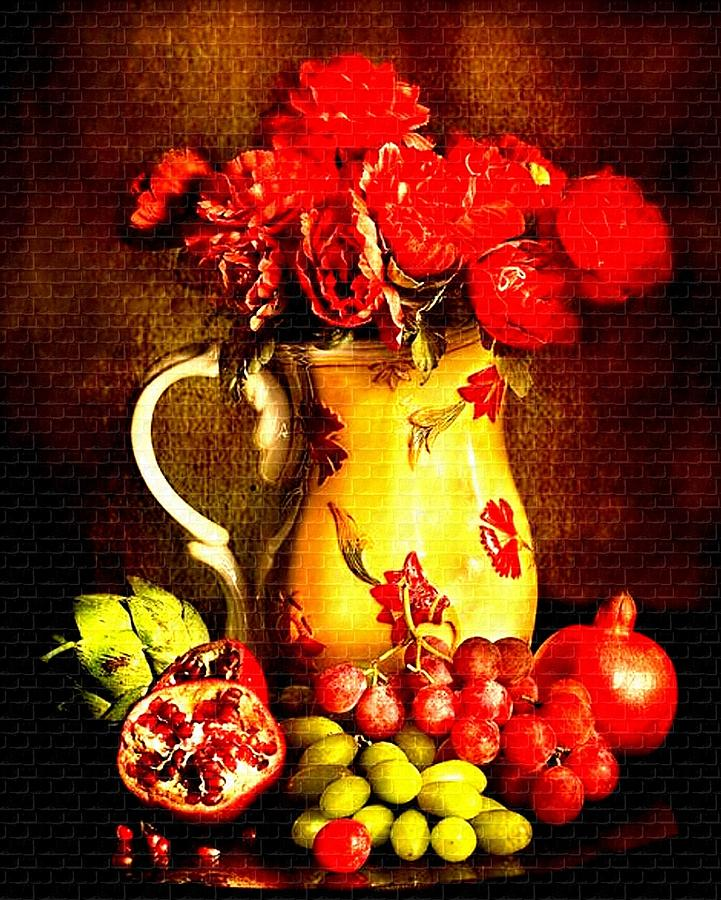 Announcement Painting - Fruit And Flower Still-life H B by Gert J Rheeders