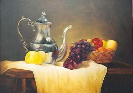 Fruit And Pewter Painting by Ruth Ann Sturgill