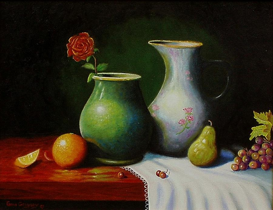Still Life Painting - Fruit And Pots. by Gene Gregory