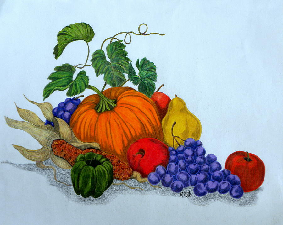 Fruit And Veggies Drawing by Terri Mills  Fruit And Veggi...