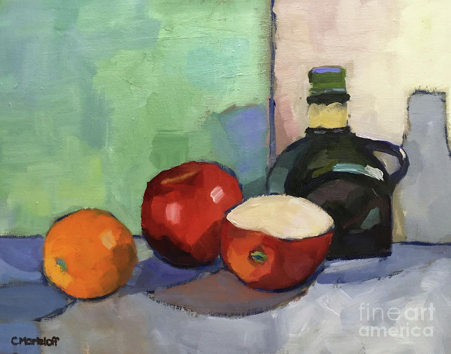 Still Life Painting Painting - Fruit And Vinegar by Catherine Martzloff