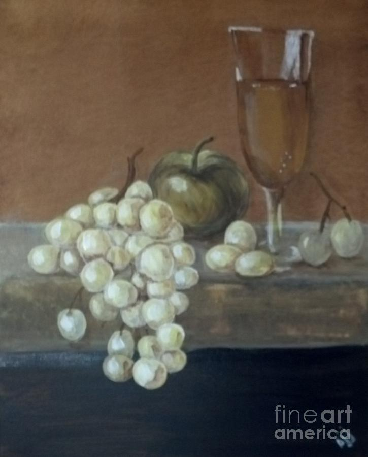 Grapes Painting - Fruit and Wine by Saundra Johnson