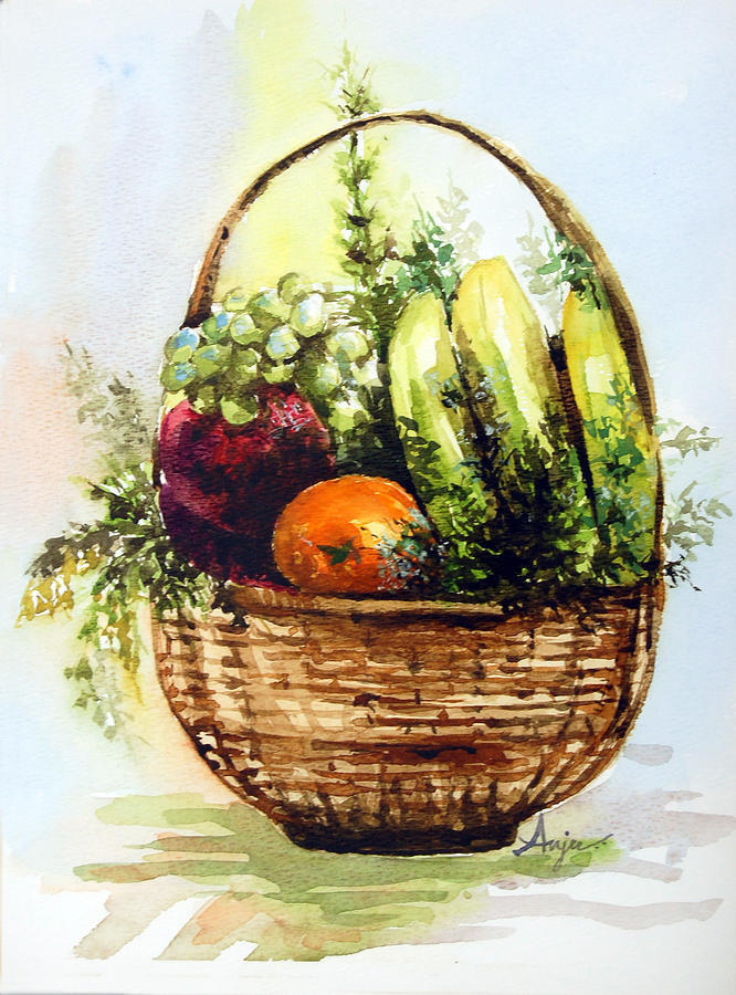 Fruits Painting - Fruit Basket by Anju Saran