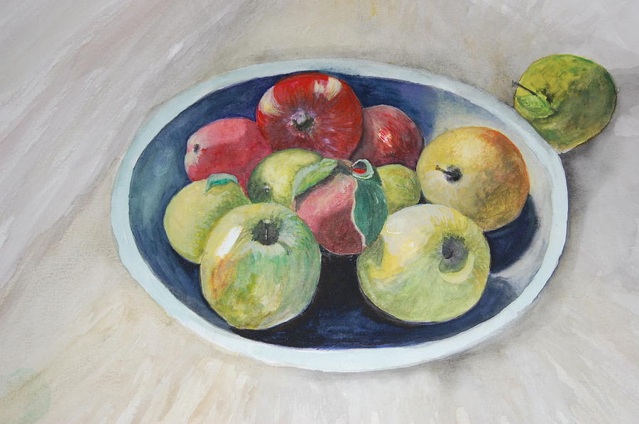 Red Apples Painting - Fruit Bowl For Health by Janna Columbus