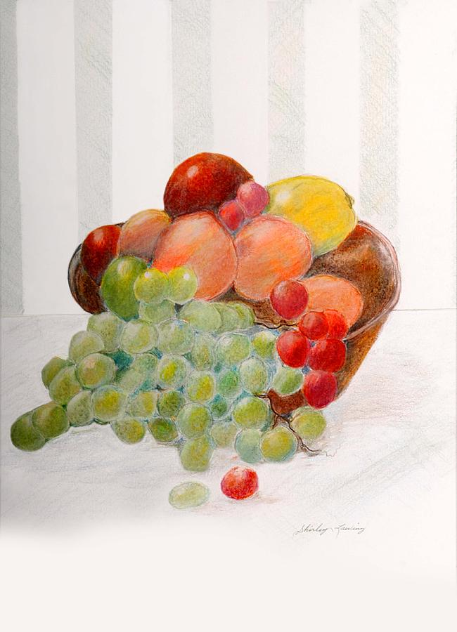 Fruit Bowl Drawing by Shirley Lawing