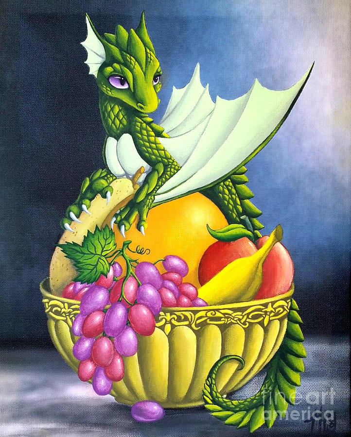 Dragon Painting - Fruit Dragon by Mary Hoy