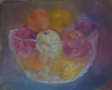 Still Life Painting - Fruit In Glass Bowl by Sheila Mashaw