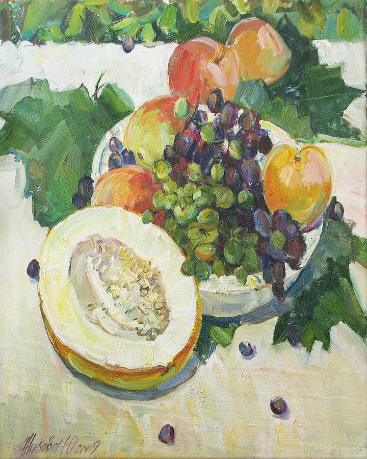 Fruit Painting - Fruit On Grape Leaves by Juliya Zhukova