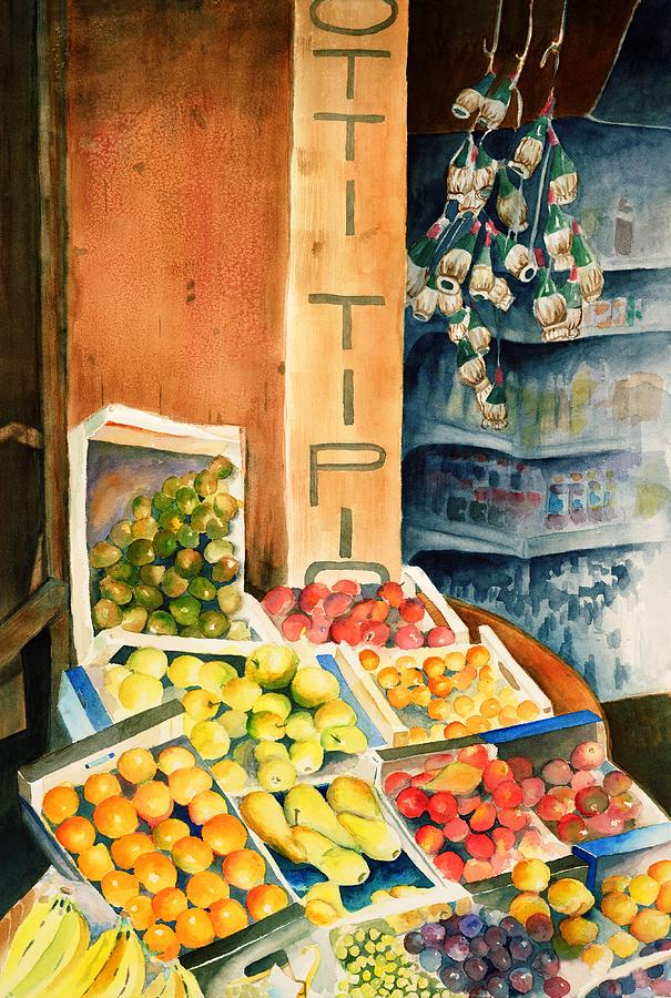 Italy Painting - Fruit Shop in San Gimignano by Judy Swerlick
