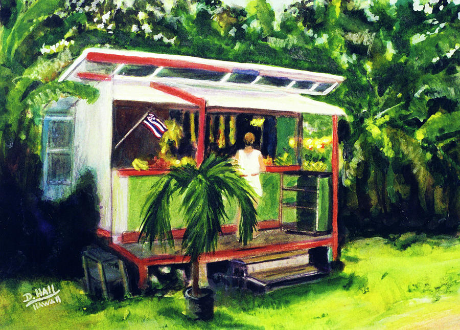 Paintings Painting - Fruit Stand North Shore Oahu Hawaii #163 by Donald k Hall