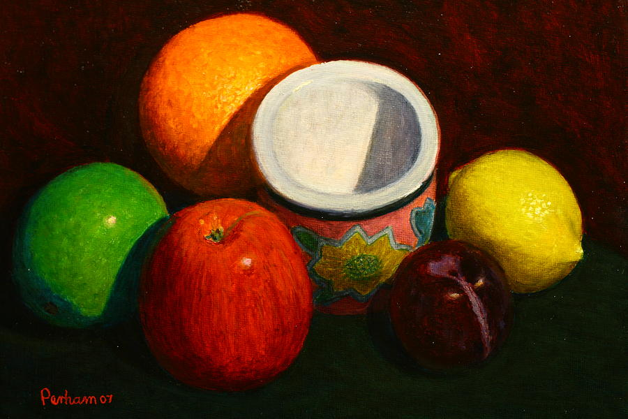 Still Life Painting - Fruit With Small Planter by Terry Perham
