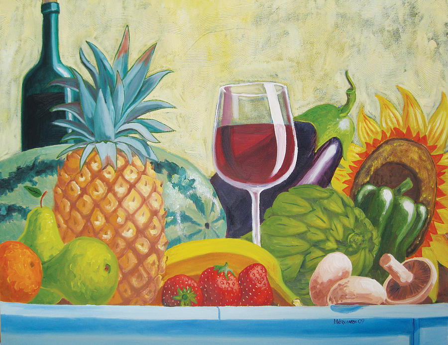 Pineapple Painting - Fruits And Vegetables by D T LaVercombe