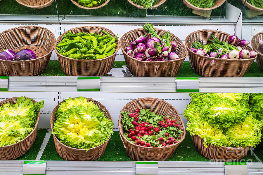 Aisle Photograph - Fruits And Vegetables On A Supermarket Shelf by Deyan Georgiev