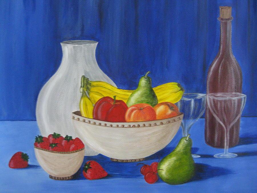 Fruits Painting - Fruits And Wine by Swathi Kurunji