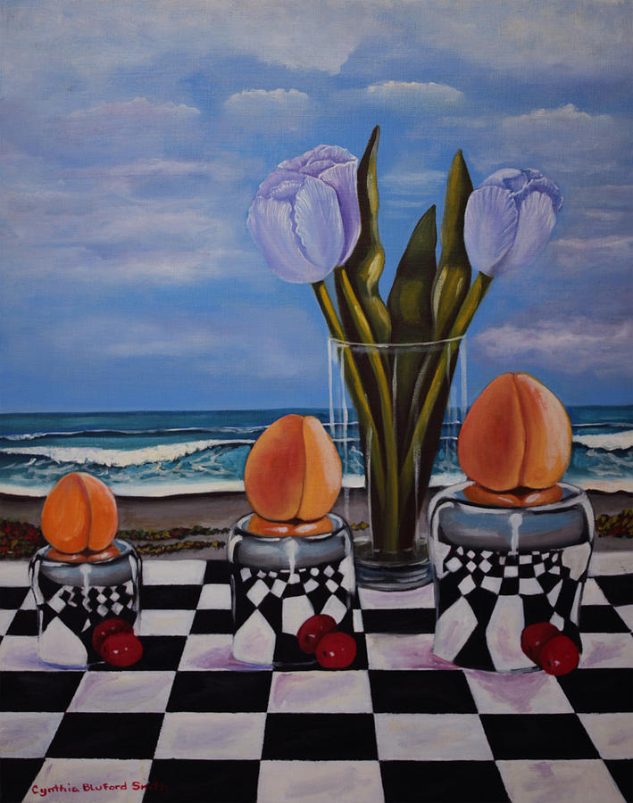 Surreal Painting - Fruity Day At The Beach by Cynthia Bluford