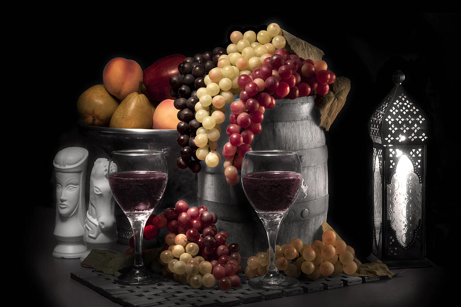 Antique Photograph - Fruity Wine Still Life Selective Coloring by Tom Mc Nemar