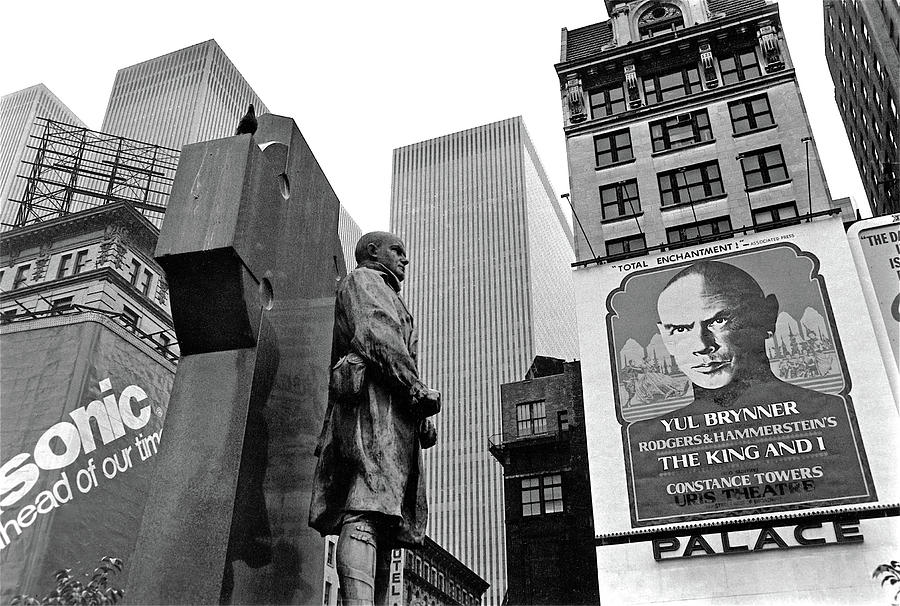 Ft. Duffy Statute And Yul Brynner Poster Palace Theater Times Square Nyc 1977 Photograph
