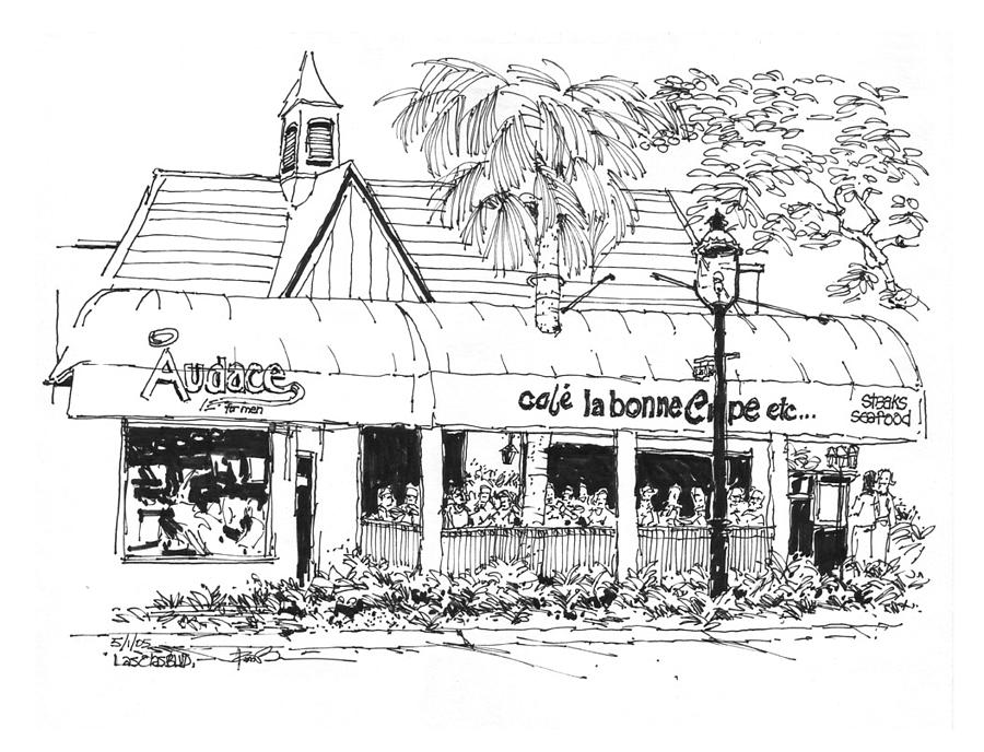 Ft. Lauderdale Cafe La Bonne Crepe Restaurant Drawing by ...