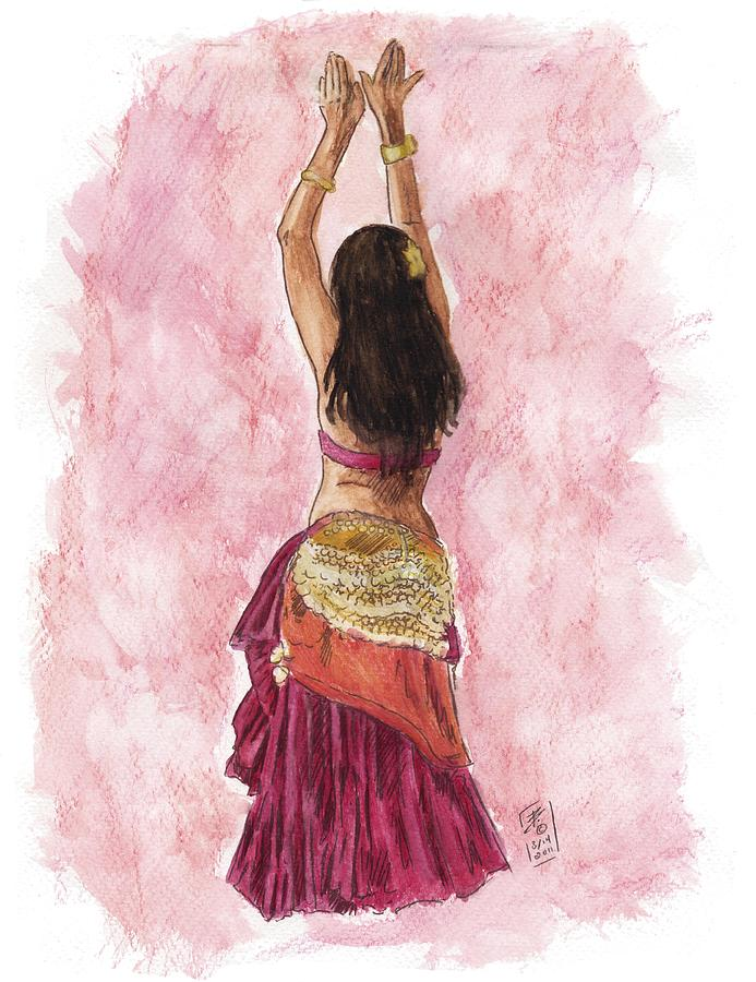 Bellydance Painting - Fuchsia by Brandy Woods