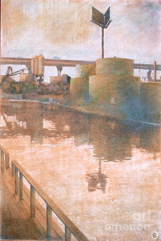 Canal Drawing - Fuel Tanks by Stefan Beltzig