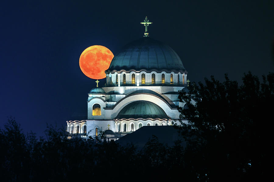Moon Photograph - Full Blood Moon Over The Magnificent St. Sava Temple In Belgrade by Dejan Kostic