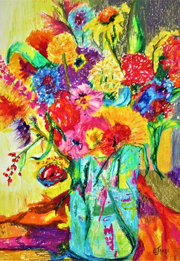 Flowers Color Painting - Full  Bloom by B Janas