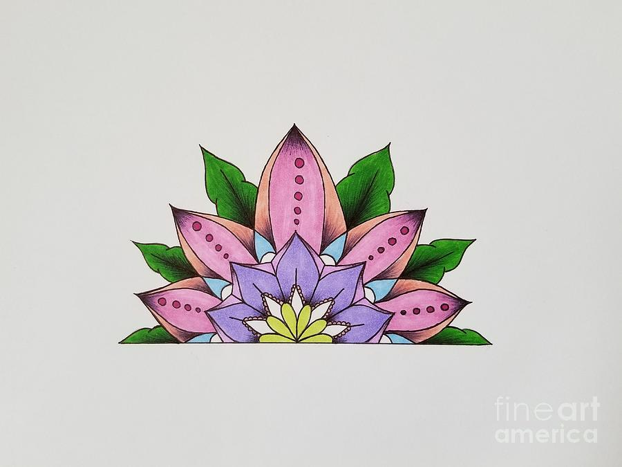 Mandala Drawing - Full Bloom by Nitara Hooper