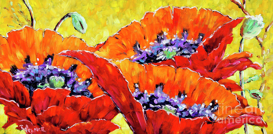 Richard T Pranke Painting - Full Bloom Poppies By Prankearts Fine Art by Richard T Pranke
