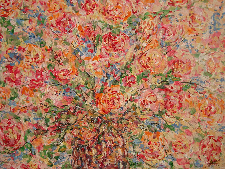 Flowers Painting - Full Bouquet. by Leonard Holland