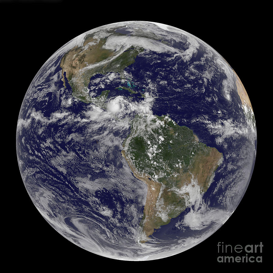 Earth Photograph - Full Earth Showing North America by Stocktrek Images
