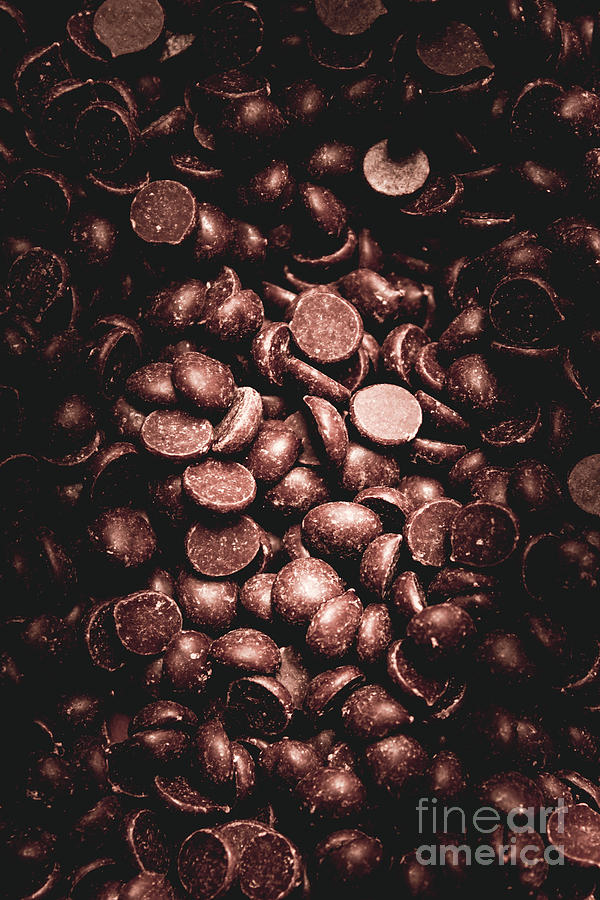 Dark Photograph - Full Frame Background Of Chocolate Chips by Jorgo Photography - Wall Art Gallery
