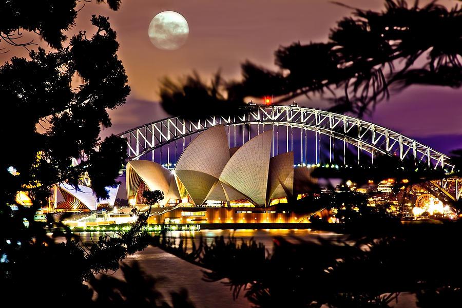 Sydney Photograph - Full Moon Above by Az Jackson