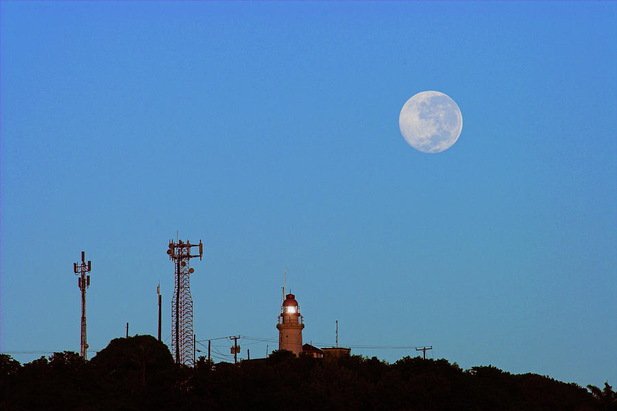 Moon Photograph - Full Moon And Lighthouse- St Lucia by Chester Williams