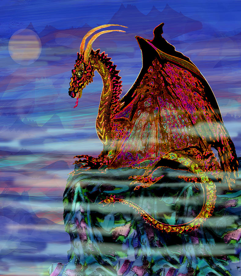 Full Moon Aries Dragon On Crystal Mountain Painting