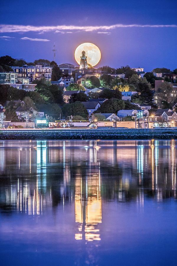 Full Photograph - Full Moon Behind Portland Observatory by Tim Sullivan