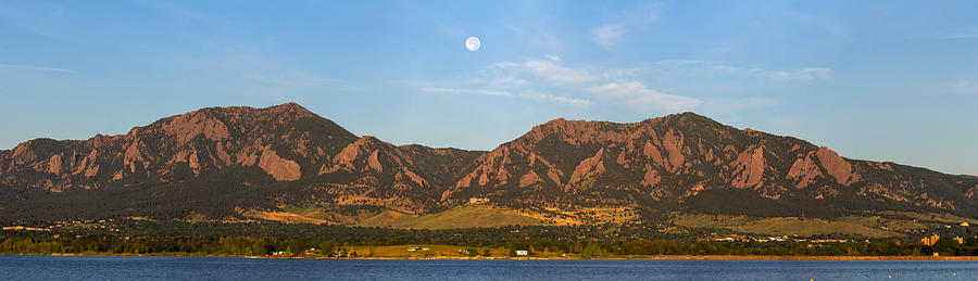 Full Moon Boulder Colorado Front Range Panorama Photograph