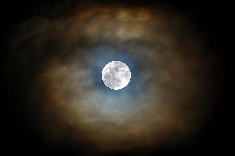 Full Photograph - Full Moon In The Clouds by David Gn