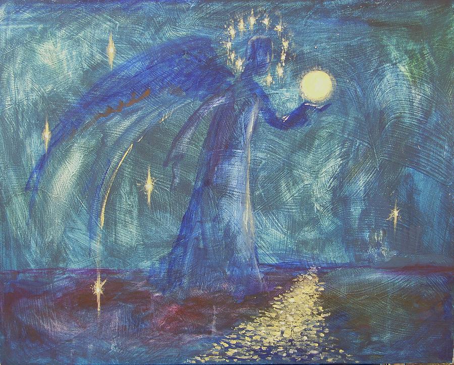 Night Painting - Full Moon by Kseniya Nelasova