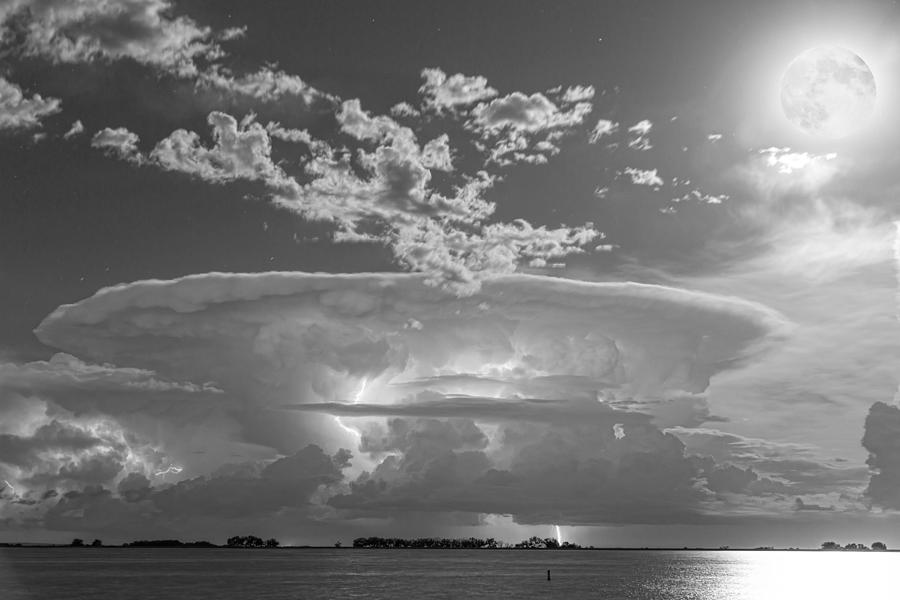 Full Moon Lightning Storm In Black And White Photograph