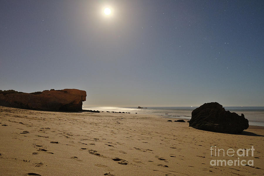 Portugal Photograph - Full Moon Magic In Gale Beach by Angelo DeVal