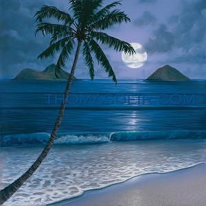 Full Moon Painting - Full Moon Mokuluas by Thomas Deir