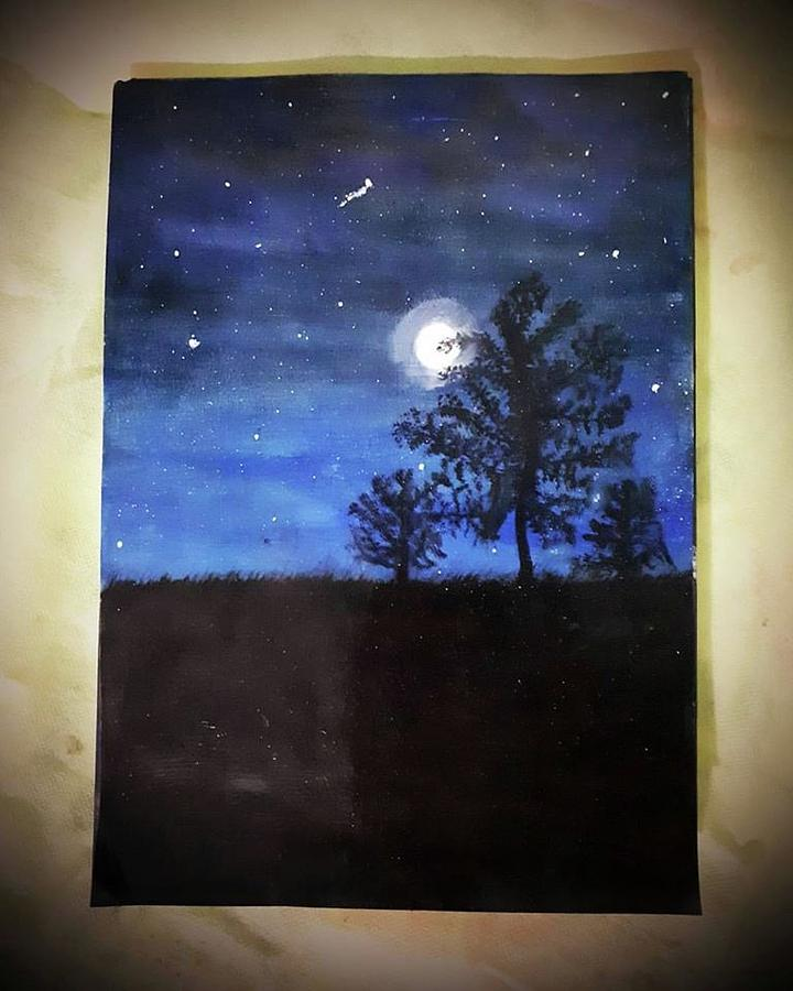 Landscape Painting - Full Moon Night by Arham Ahmed