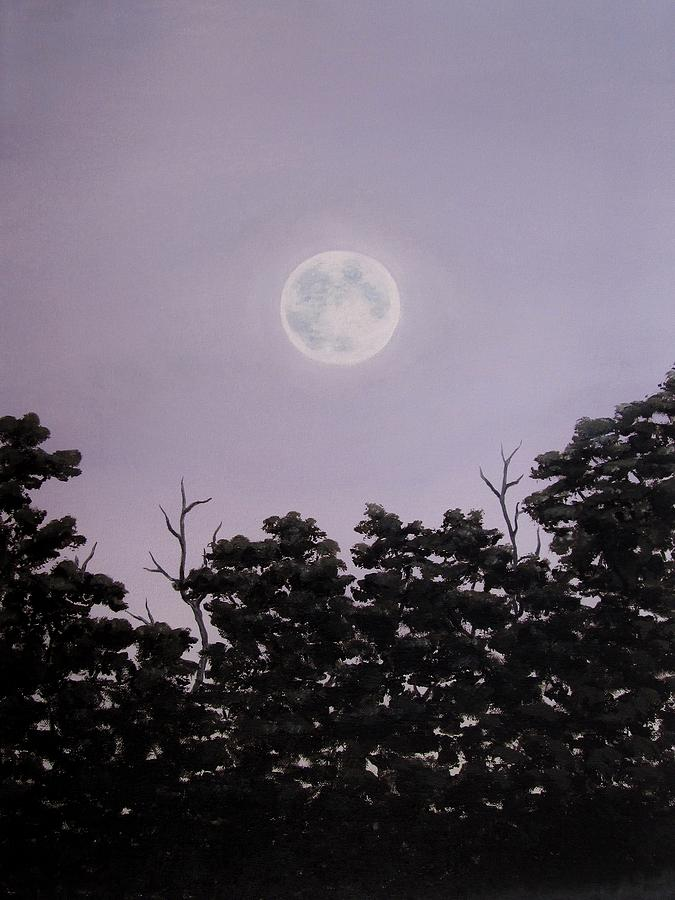 Full Moon Painting - Full Moon On A Summer Evening by Anna Bronwyn Foley