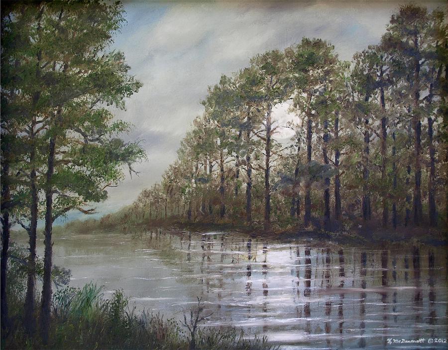 Moonscape Painting - Full Moon On The River by Kathleen McDermott
