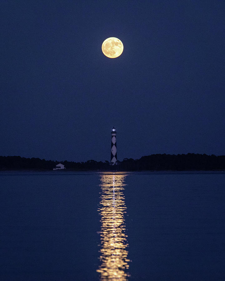 Landscape Photograph - Full Moon over Cape Lookout Light by M C Hood