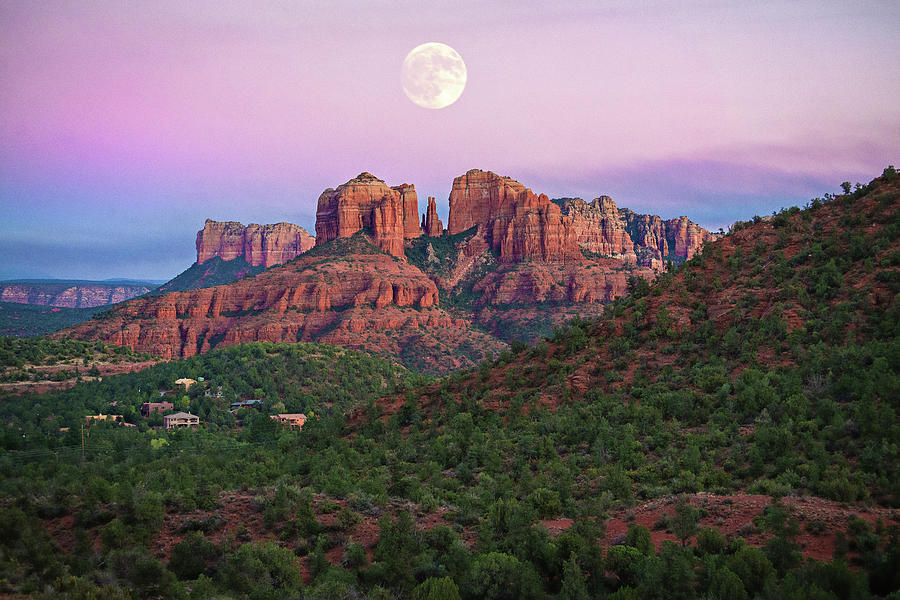 Full Moon Over Cathedral Rock by Lynn Bauer