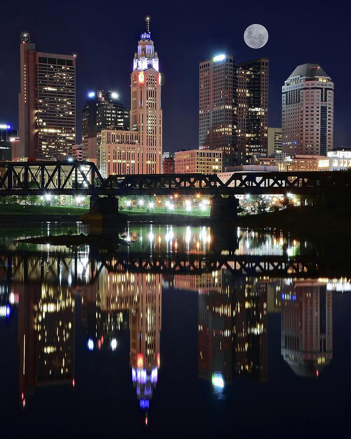Columbus Photograph - Full Moon Over Columbus Ohio by Frozen in Time Fine Art Photography